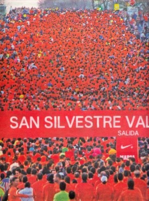A sea of runners competing in a previous year's San Silvestre Vallecana